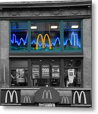 Neon Twin Towers Metal Print by Andrew Fare