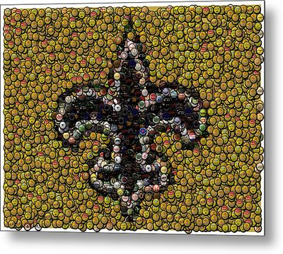 New Orleans Saints  Bottle Cap Mosaic Metal Print by Paul Van Scott