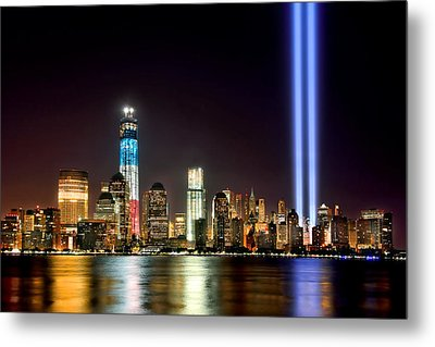 New York City Skyline Tribute In Lights And Lower Manhattan At Night Nyc Metal Print by Jon Holiday