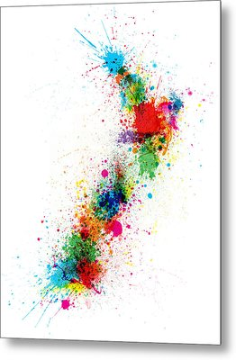 New Zealand Paint Splashes Map Metal Print by Michael Tompsett
