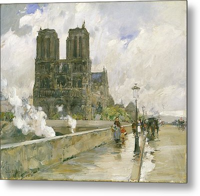 Notre Dame Cathedral - Paris Metal Print by Childe Hassam