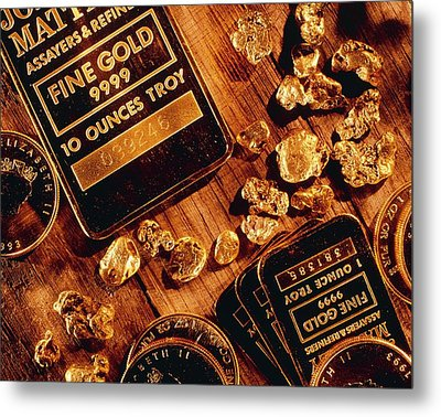 Nuggets, Bars And Coins Made Of Gold Metal Print by David Nunuk