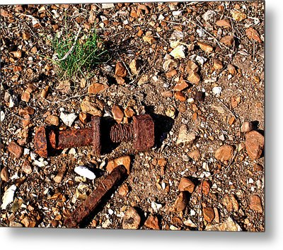 Nuts And Bolts Rusted Metal Print by Douglas Barnett