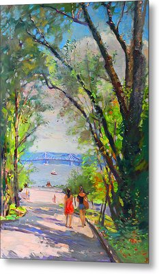 Nyack Park A Beautiful Day For A Walk Metal Print by Ylli Haruni