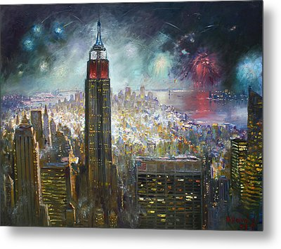 Nyc. Empire State Building Metal Print by Ylli Haruni