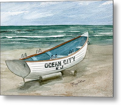Ocean City Lifeguard Boat Metal Print by Nancy Patterson