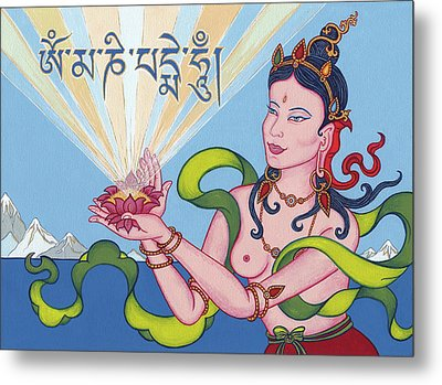 Offering Goddess With Mantra 'om Mani Padme Hum' Metal Print by Carmen Mensink