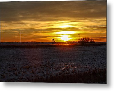 Oil Well Sunset Metal Print by Christy Patino