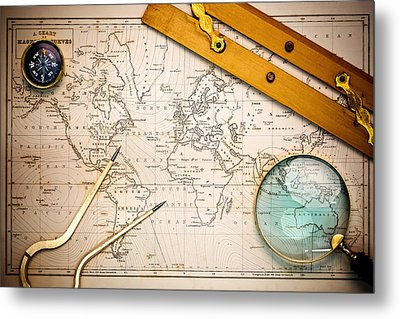 Old Map And Navigational Objects. Metal Print by Richard Thomas