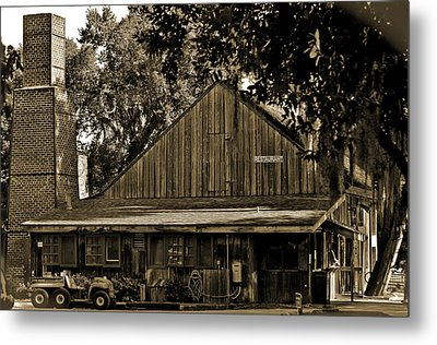 Old Spanish Sugar Mill Sepia Metal Print by DigiArt Diaries by Vicky B Fuller