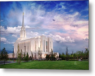 Oquirrh Mt Temple Metal Print by La Rae  Roberts
