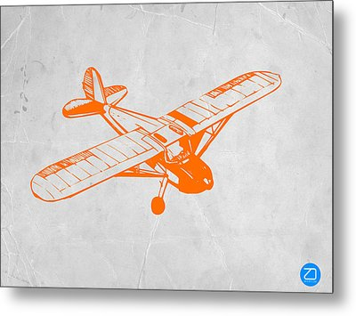 Orange Plane 2 Metal Print by Naxart Studio