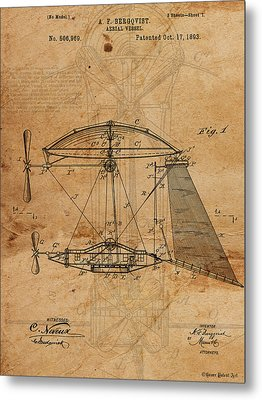 Patent Drawing Aerial Vessel Flying Machine I Metal Print by Michel Keck