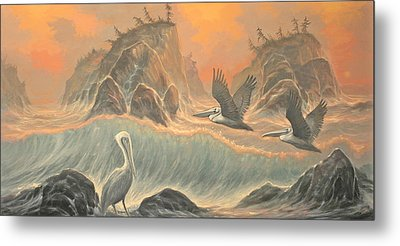 Pelican Paradise Metal Print by Marte Thompson