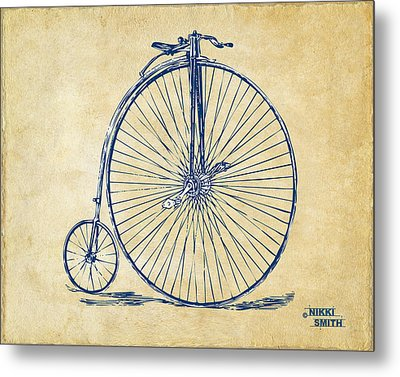 Penny-farthing 1867 High Wheeler Bicycle Vintage Metal Print by Nikki Marie Smith