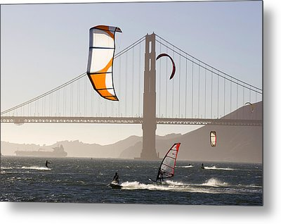 People Wind Surfing And Kitebording Metal Print by Skip Brown