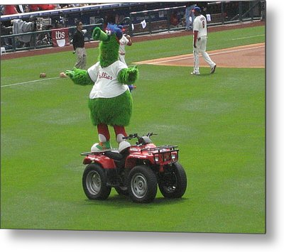 Phillie Phanatic Metal Print by Jennifer  Sweet
