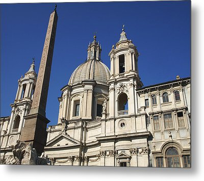 Piazza Navona. Navona Place. Church St. Angnese In Agona And Egyptian Obelisk. Rome Metal Print by Bernard Jaubert