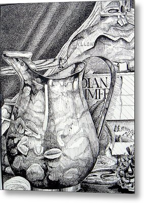 Picture Of Pitcher Metal Print by Linda Shackelford