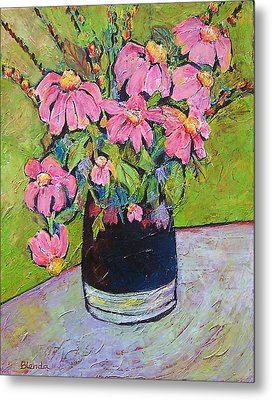 Pink And Green Metal Print by Blenda Studio