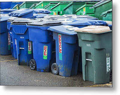 Plastic Garbage Bins Metal Print by Don Mason