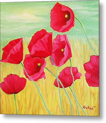 Pop Pop Poppies Metal Print by Rivkah Singh