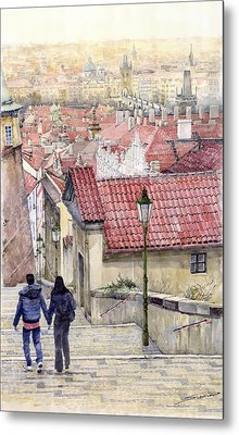 Prague Zamecky Schody Castle Steps Metal Print by Yuriy  Shevchuk