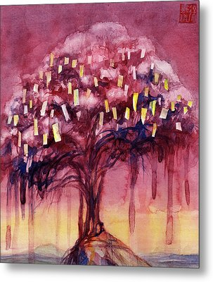 Prayer Tree II Metal Print by Janet Chui
