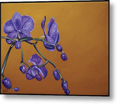 Purple Orchids Metal Print by Edward Williams