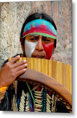Quechuan Pan Flute Player Metal Print by Al Bourassa