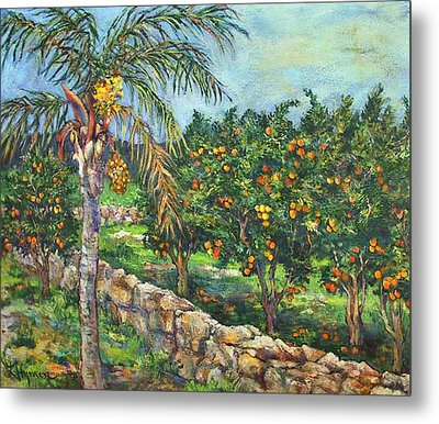 Queen Palm And Oranges Metal Print by Lily Hymen
