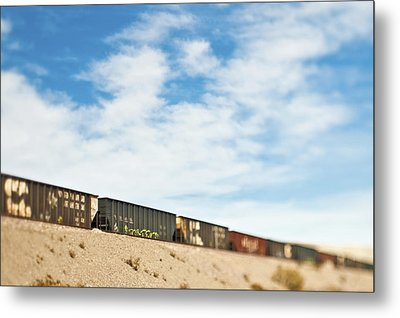 Railroad Cars Metal Print by Eddy Joaquim