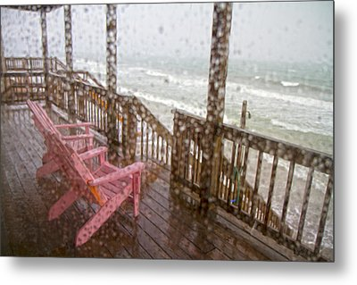 Rainy Beach Evening Metal Print by Betsy C Knapp