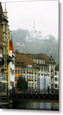 Rainy Day In Lucerne Metal Print by Linda  Parker