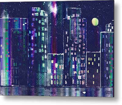 Rainy Night In The City Metal Print by Arline Wagner