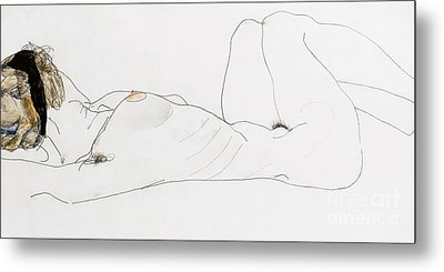 Reclining Female Nude Metal Print by Egon Schiele