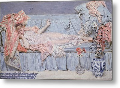 Reclining Model Metal Print by Albert Joseph Moore