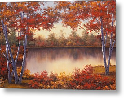Red And Gold Metal Print by Diane Romanello