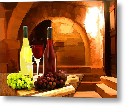 Red And White In The Cellar Metal Print by Elaine Plesser