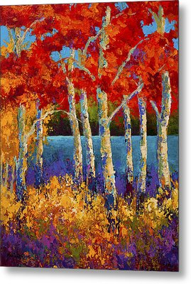 Red Birches Metal Print by Marion Rose