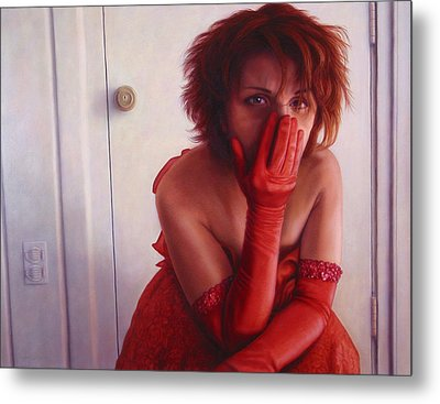 Red Dress Metal Print by James W Johnson