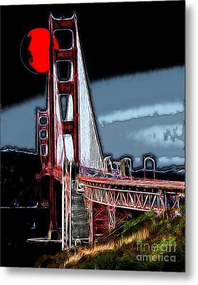 Red Moon Over The Golden Gate Bridge Metal Print by Wingsdomain Art and Photography