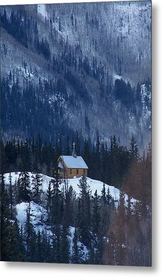 Redcloud Chapel In Blue Metal Print by David Ackerson