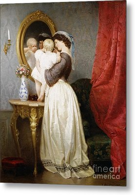Reflections Of Maternal Love Metal Print by Robert Julius Beyschlag