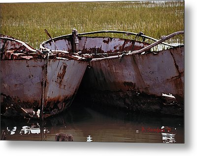 Retired Fishing Boats Metal Print by Becky Sundeen