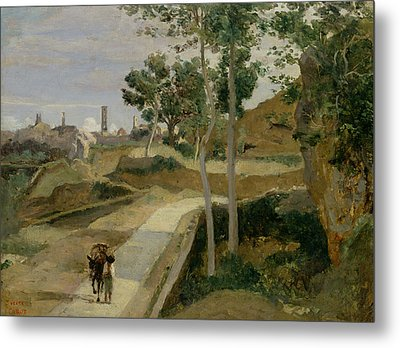 Road From Volterra Metal Print by Jean Baptiste Camille Corot