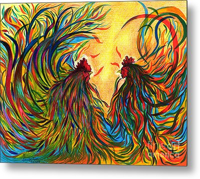 Roosters Frienship Metal Print by Fanny Diaz