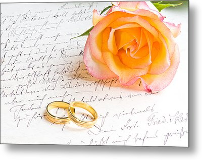 Rose And Two Rings Over Handwritten Letter Metal Print by Ulrich Schade