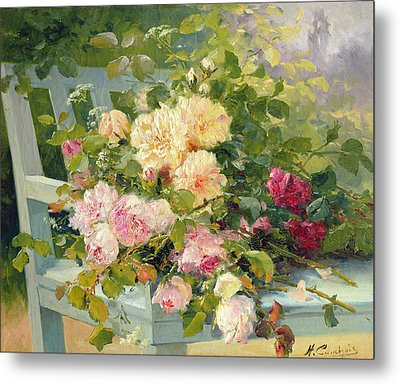 Roses On The Bench  Metal Print by Eugene Henri Cauchois