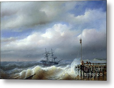 Rough Sea In Stormy Weather Metal Print by Paul Jean Clays